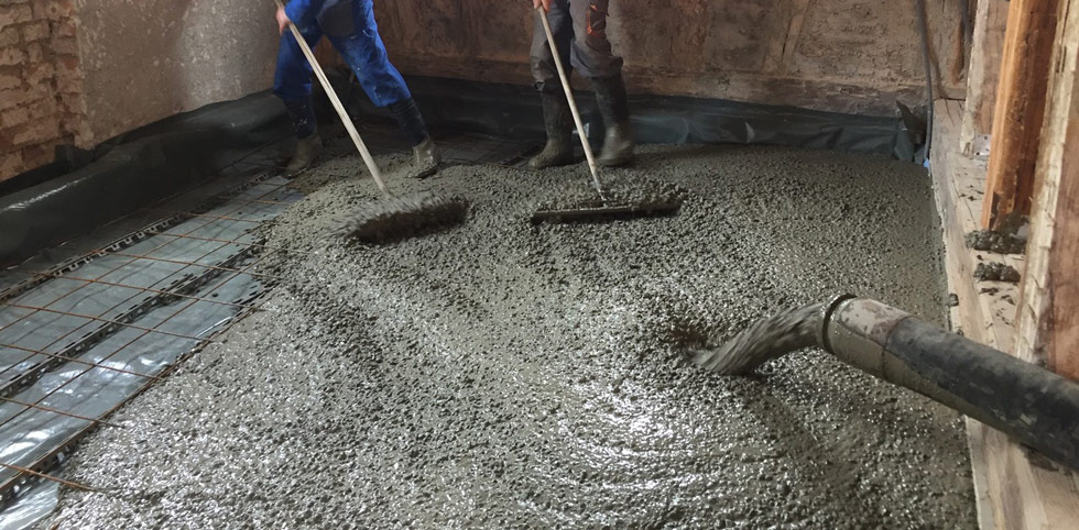 faire la dalle de béton à l'intérieur