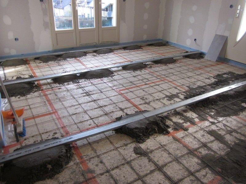 chape maigre sur une dalle de beton