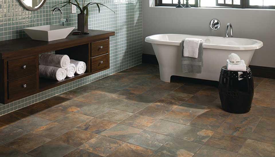 Revêtement de sol pour la salle de bain en pierre naturelle